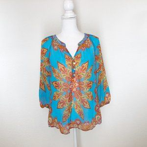 Fig and Flower Anthropologie Small Flowing Blouse